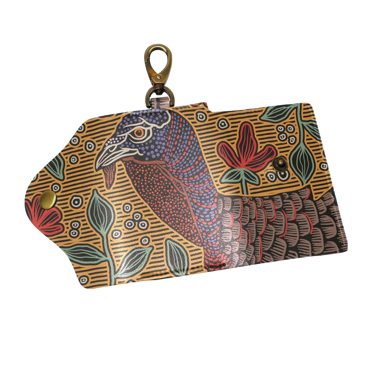 KEAKIA Wild Turkey Abstract Leather Key Case Wallets Tri-fold Key Holder Keychains with 6 Hooks 2 Slot Snap Closure for Men Women