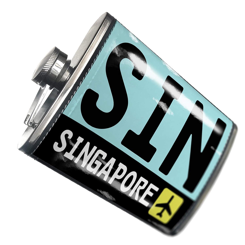 8オンスフラスコステッチAirportコードSin /シンガポール国:シンガポールステンレススチール – Neonblond   B00QQVH2EE