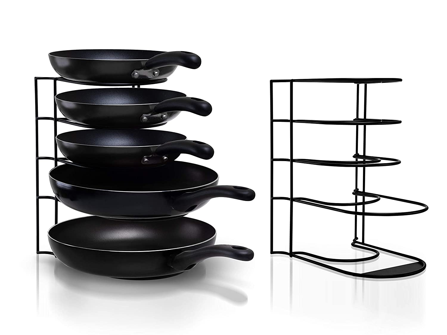 Heavy Duty Pot Rack Pan Organizer - Kitchen Organization and Storage for Frying Skillet, Baking and Casserole Dishes, Pots, Griddles, Serving Trays, and Lids - Cast Iron Standing Holder for Cookware
