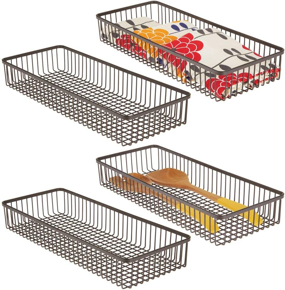 mDesign Metal Farmhouse Kitchen Cabinet Drawer Organizer Tray - Storage Basket for Cutlery, Serving Spoons, Cooking Utensils, Gadgets - 4 Pack - Bronze
