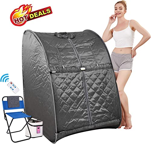 Himimi 2L Foldable Steam Sauna Portable Indoor Home Spa Weight Loss Detox with Chair Remote Gray