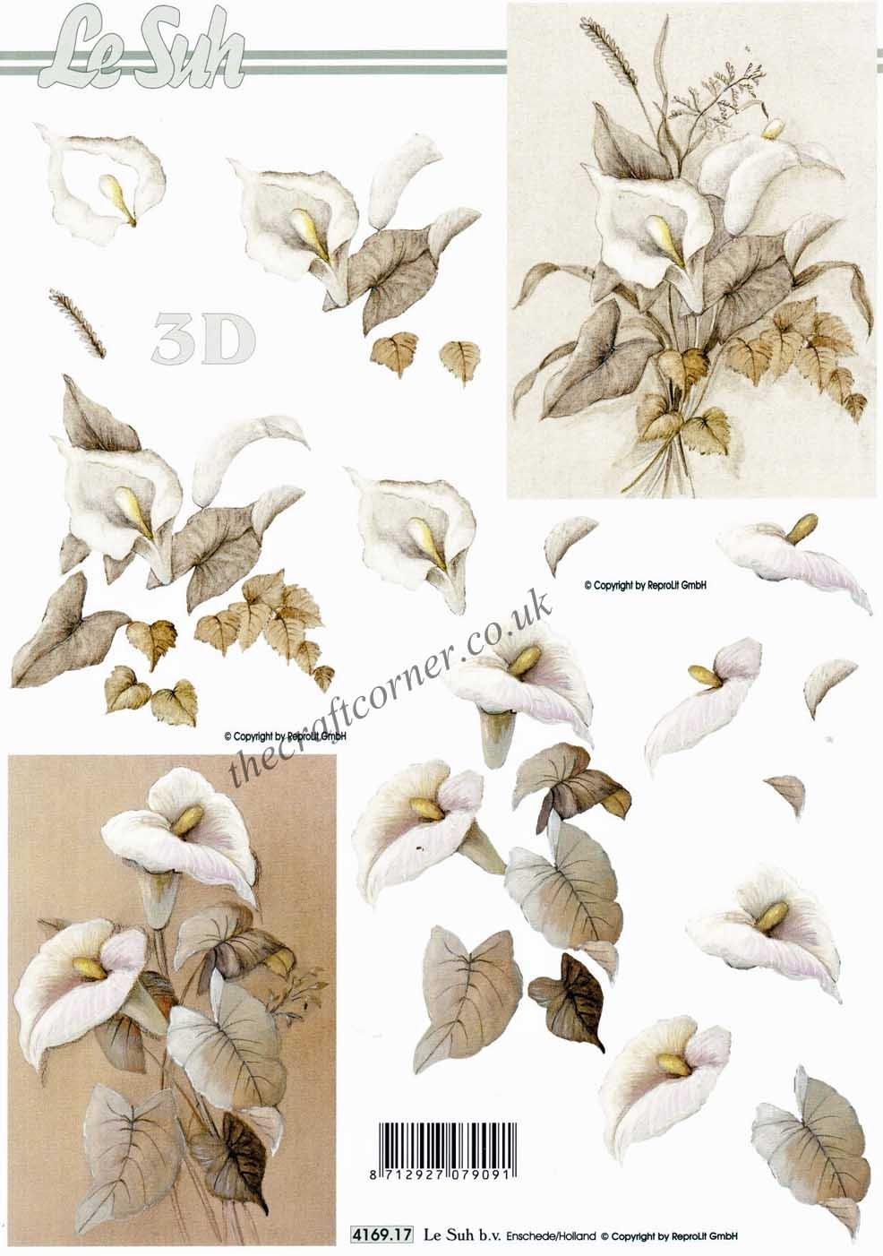 Calla Lilly In Sepia Tones 3D Decoupage Sheet Le Suh