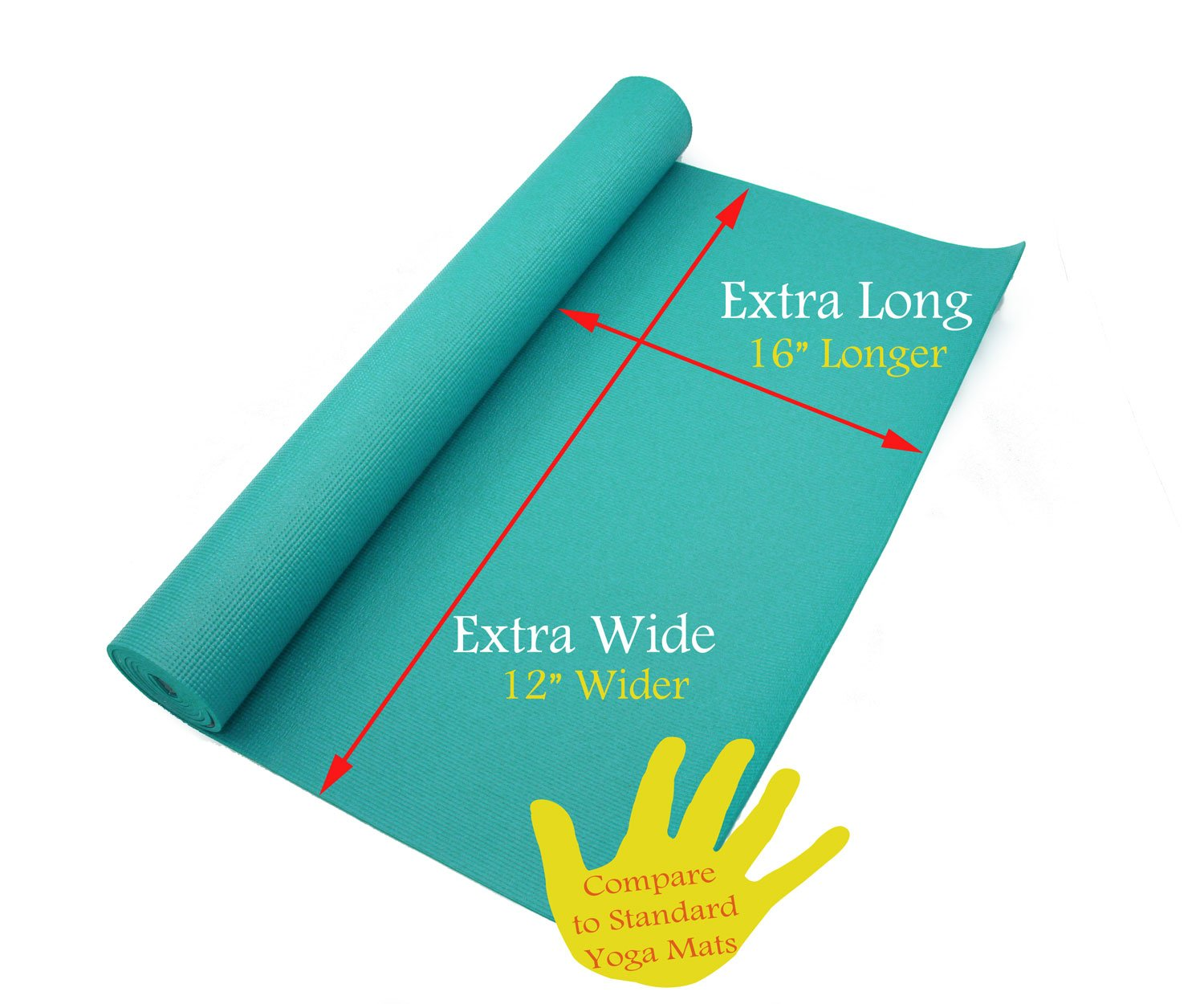 Rolling Sands 84 Inch by 36 Inch Extra Wide, Extra Long, Extra Thick Teal Yoga Pilates Mat
