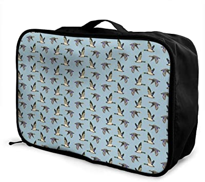 Lightweight Large Capacity Duffel Portable Luggage Bag French Bulldog Navy Blue Travel Waterproof Foldable Storage Carry Tote Bag