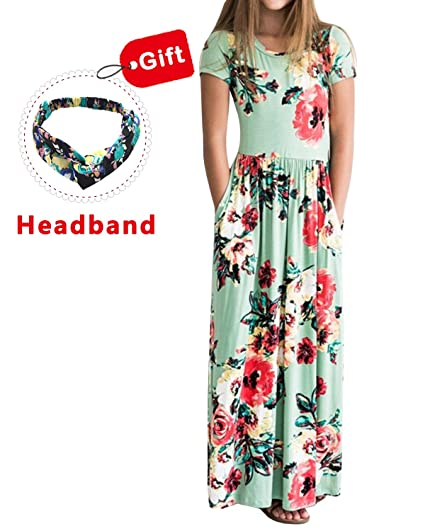 844df702111 Amazon.com  Girls Dresses Spring Floral Maxi Dress Short Sleeve Casual  Pocket Sundress with Headband for 3-12  Clothing