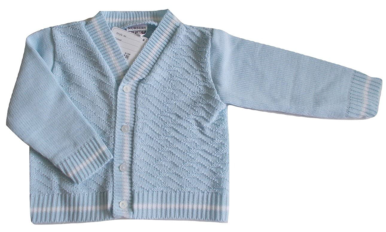 Nursery Time Baby Boys Knitted Cardigan in Pale Blue with White