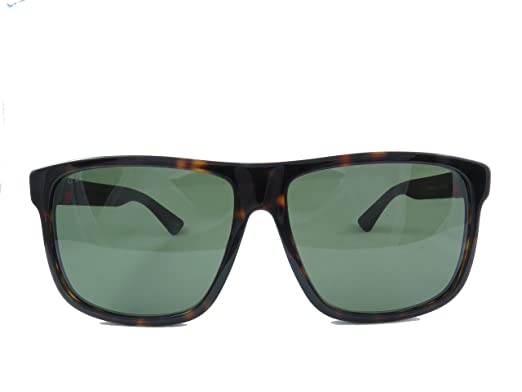 d8a75ac06c Image Unavailable. Image not available for. Color  Gucci GG0010SA Sunglasses  003 Havana Brown   Green Lens ...