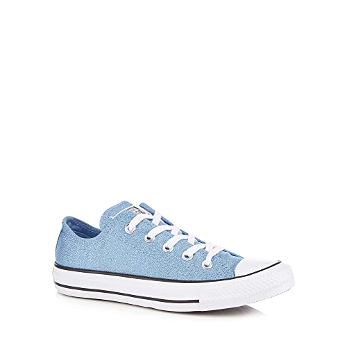 72781f32af5f Converse Womens Light Blue Glitter Canvas  Chuck Taylor All Star  Trainers 6