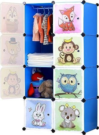 75 x 47 x 147 cm BRIAN /& DANY Armadio Modulare Bambini Portatile Guardaroba Rosa Armadietto in Moduli Plastici 8 Cubo