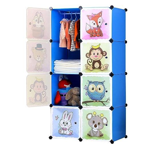 Brian Dany Armario Modular Infantil De Puertas Con Motivos De Animales Estanterías Por Módulos Armario De Almacenaje Azul 75 X 47 X 147 Cm