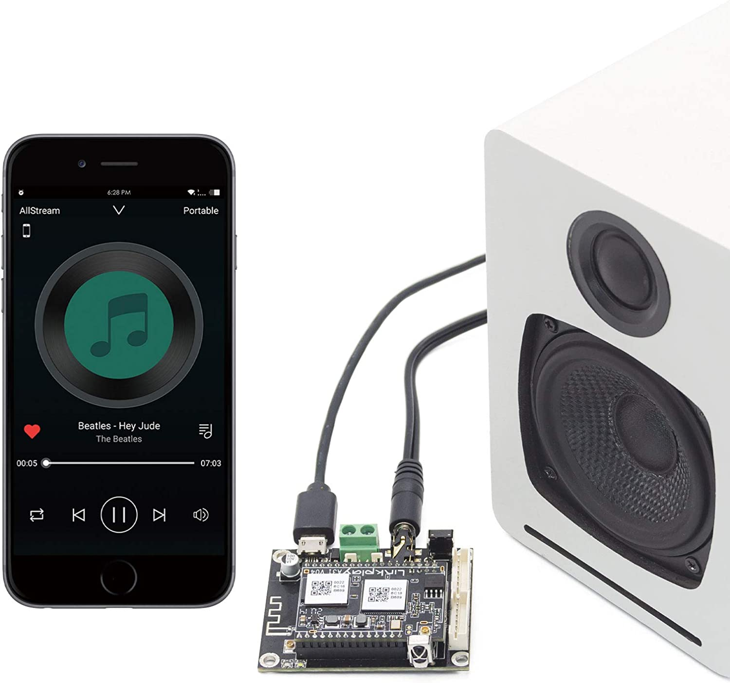 Arylic WiFi & Bluetooth Audio Receiver Board, Wireless Multizone Home Stereo Music Receiver Circuit Module with Airplay Spotify Connect and Remote Control for DIY Speakers Mini V3