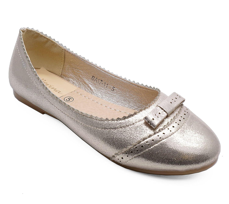 Ladies Flat Gold Slip-On Wedding Party Shoes Ballerina Ballet Girls Pumps Sizes 3-8
