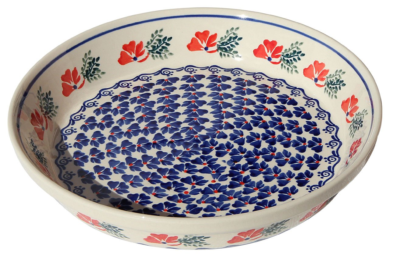 Polish Pottery Dish Pie Plate 10'' From Zaklady Ceramiczne Boleslawiec #879-1115 Classic Pattern, Height: 1.8'' Diameter: 10'' by Polish Pottery Market