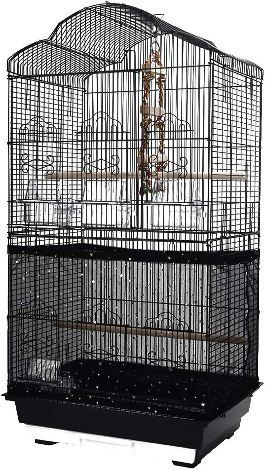 QBLEEV Bird Cage Cover Stretchy Seed Catcher Birdcage Nylon Mesh Net Cover Skirt Guard Shell