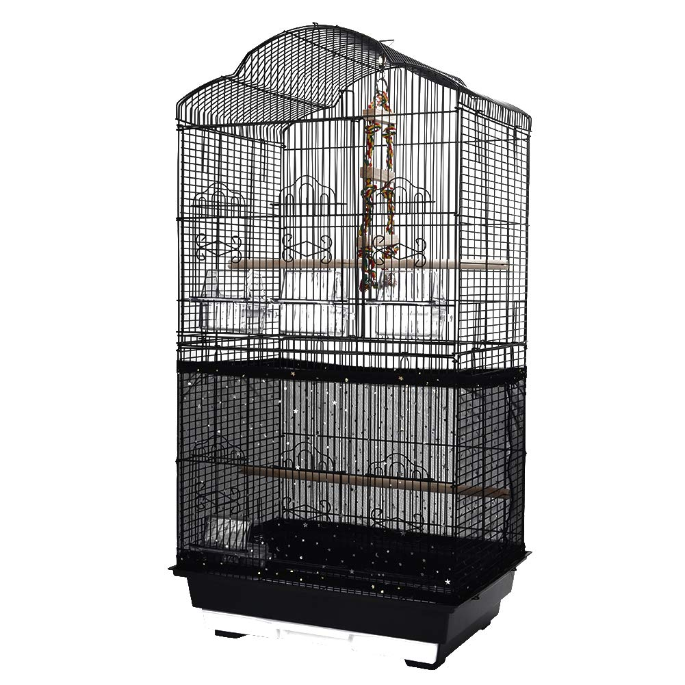 QBLEEV Bird Cage Cover Stretchy Seed Catcher Birdcage Nylon Mesh Net Cover Skirt Guard Shell Black