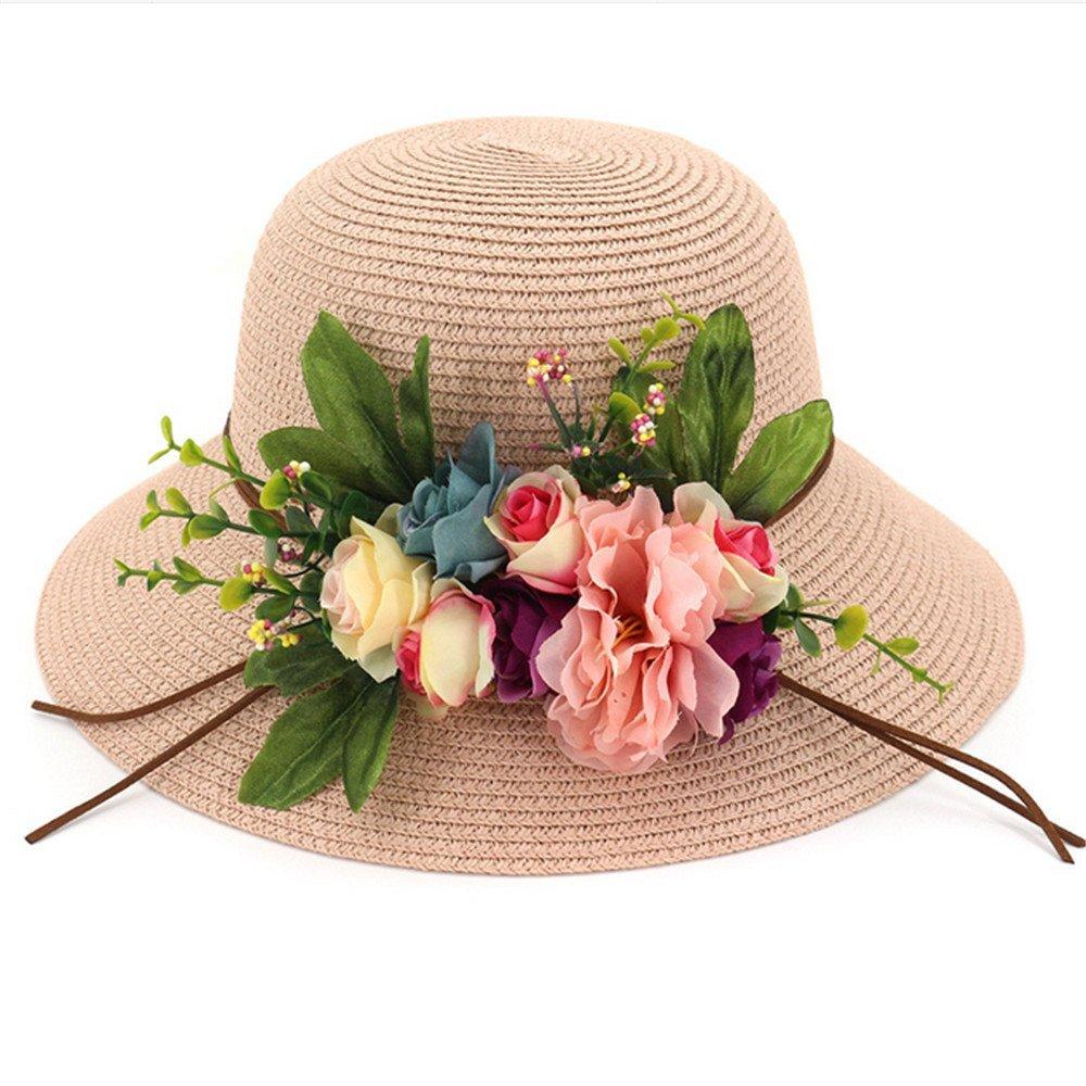 Mzdpp Sombrero De Pescador Sombrero Anti-UV Señora Moda Playa Jardín Flor Anti-UV Sombrero Sombrero De Paja Rosa 0c6c1c