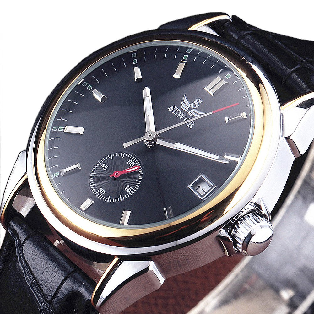 SEWOR Brand Business Men Automatic Mechanical Watch Auto Date Dial Leather Strap Stylish Dress Wristwatch by SEWOR