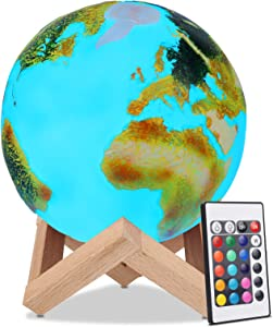 16 Colors Magic LED Earth Light 3D Printed USB Rechargeable Moon Lamp with Wooden Stand, Remote and Touch Control Night Light for Kids Gifts Bedroom and Home Decoration (15cm/5.9inch)