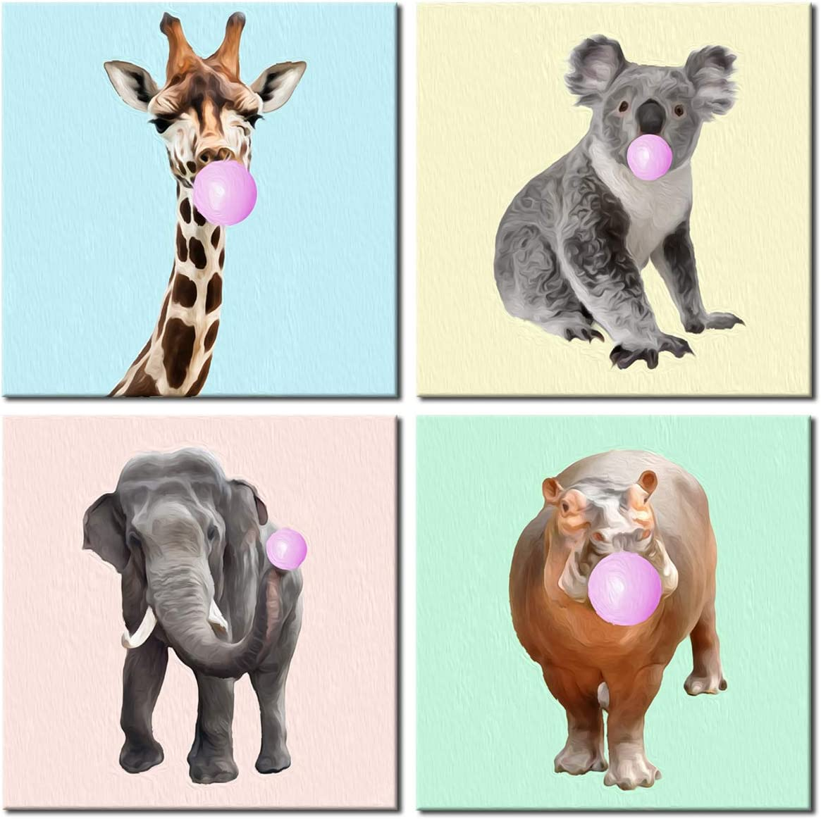 Animals Wall Art Deer Koala Elephant Hippo Pink Bubble Gum Cute Canvas Painting 4 Panels Print Picture Decor for Kids Room Framed Ready to Hang 12x12in x4pcs