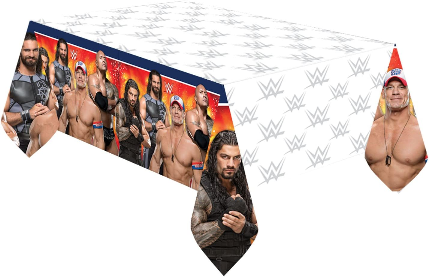 amscan WWE Plastic Table Cover (Each), White, One Size