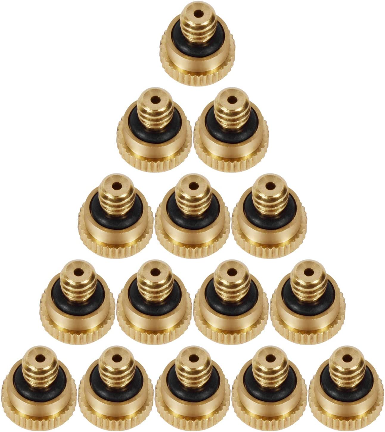 "LOOYUAN 20pcs Brass Misting Nozzles for Outdoor Cooling System 0.012"" Orifice (0.3 mm) 10/24 UNC Garden"