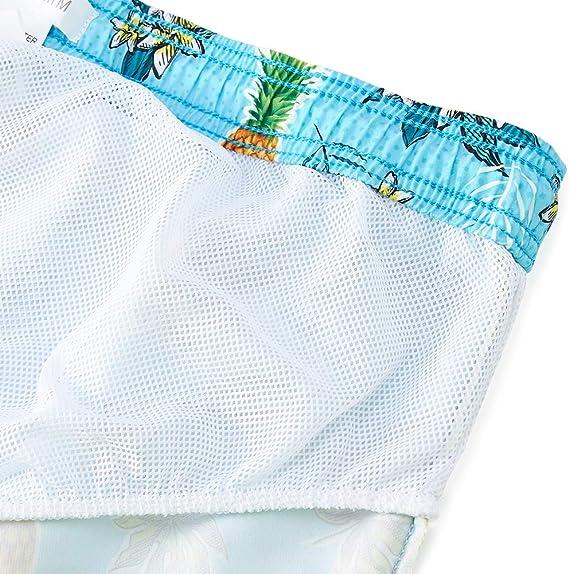 Costume da Bagno Uomo con stampa 3D Floreale Ananas Asciugatura Veloce Pantaloncini da Bagno Leggero e Traspirante Calzoncini da Bagno Tronchi da Surf Spiaggia Swim Shorts con Fodera in Mesh M-XXL