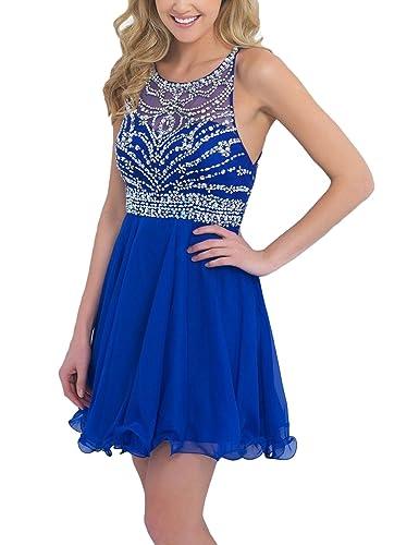 SeasonMall Women's Short Prom Dresses A Line Chiffon Blue Homecoming Dresses
