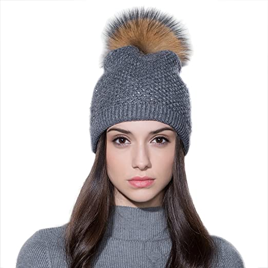Ferand Ladies Raccoon Fur Pom pom Hat Knitted Crystal Winter Bobble Beanie  for Women 0b71e5b1140