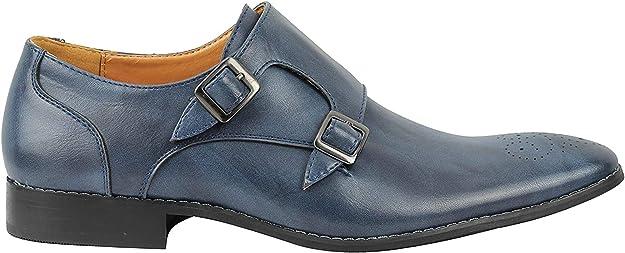 TALLA 40 EU. Doble Piel Hebilla De La Vendimia De Deslizamiento De Los Hombres del Holgazán De Los Zapatos Inteligentes Mod Formal En Negro Azul Tan