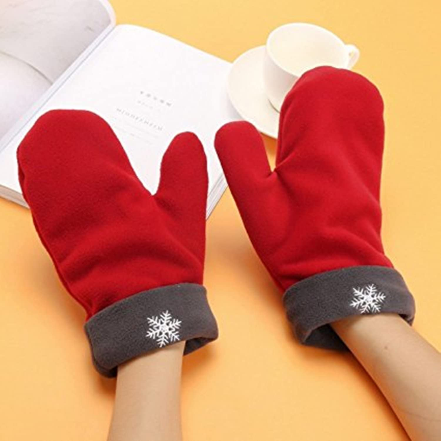 Mai Poetry Christmas Lovers Couples Snowflake Winter Mittens Gloves Valentines Gift