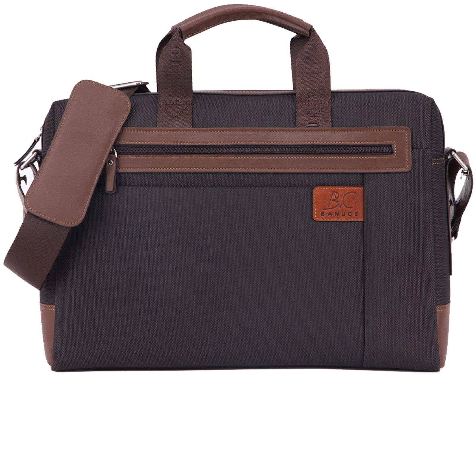 Banuce 15 inch Laptop Tablet Bag Oxford Nylon Waterproof Business Messenger Briefcase for Men Slim Shoulder Attache Case