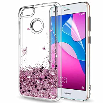 timeless design 8225a e7be9 LeYi Case for Huawei Y6 Pro 2017 / P9 Lite mini with Screen Protector, Girl  Women 3D Glitter Liquid Cute Personalised Clear Transparent Silicone Gel ...