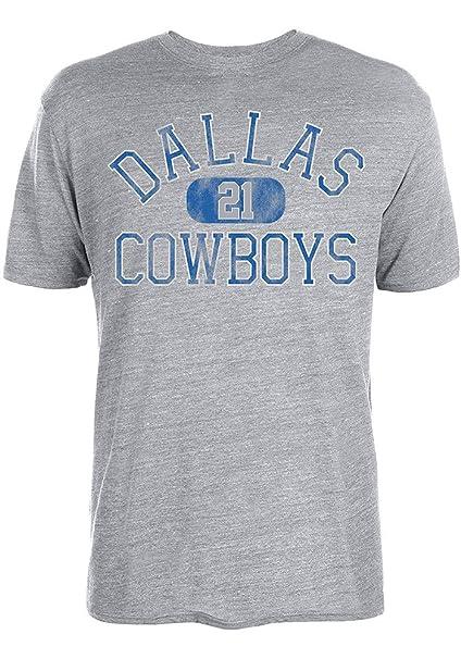 Ezekiel Elliott Dallas Cowboys  21 NFL Men s Rugged Player T Shirt Grey  (Small) b31dd48af