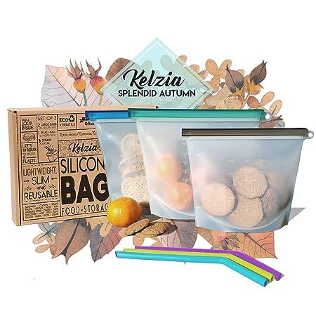 Diseño Mediterráneo Kelzia - Bolsas de Silicona para Alimentos reutilizables con 3 pajitas de silicona. Bolsa para cocinar, almuerzo, aperitivos, ...