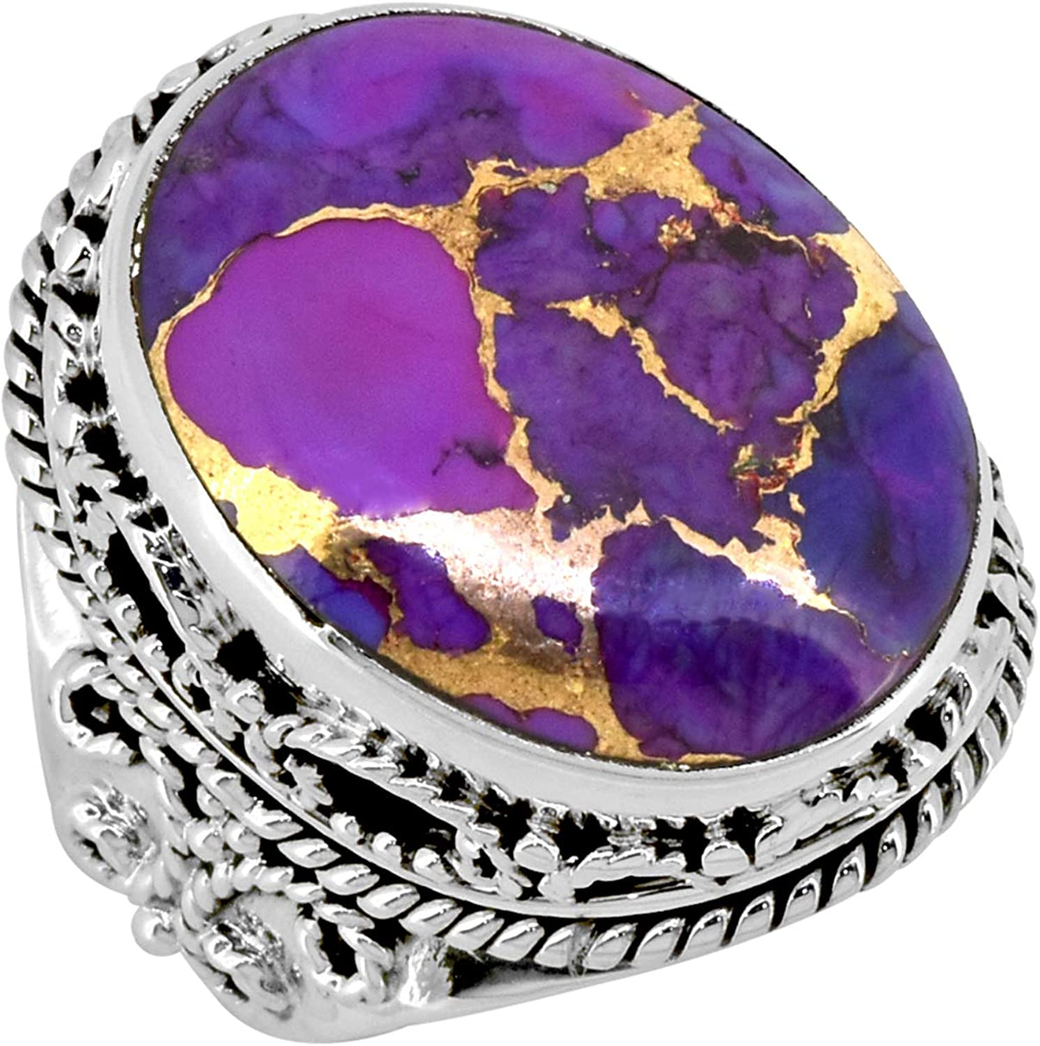 Copper Purple Turquoise Ring 925 Sterling Silver Handmade Jewelry Size 9 lz09001