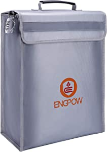 """ENGPOW Large Fireproof Bag,Fireproof Lock Box Bag Document Bag Money Bag with Combination Lock Zipper Closure,Fireproof Safe and Water Resistant Storage for Documents,Money,Valuables (16""""x12""""x4"""")"""