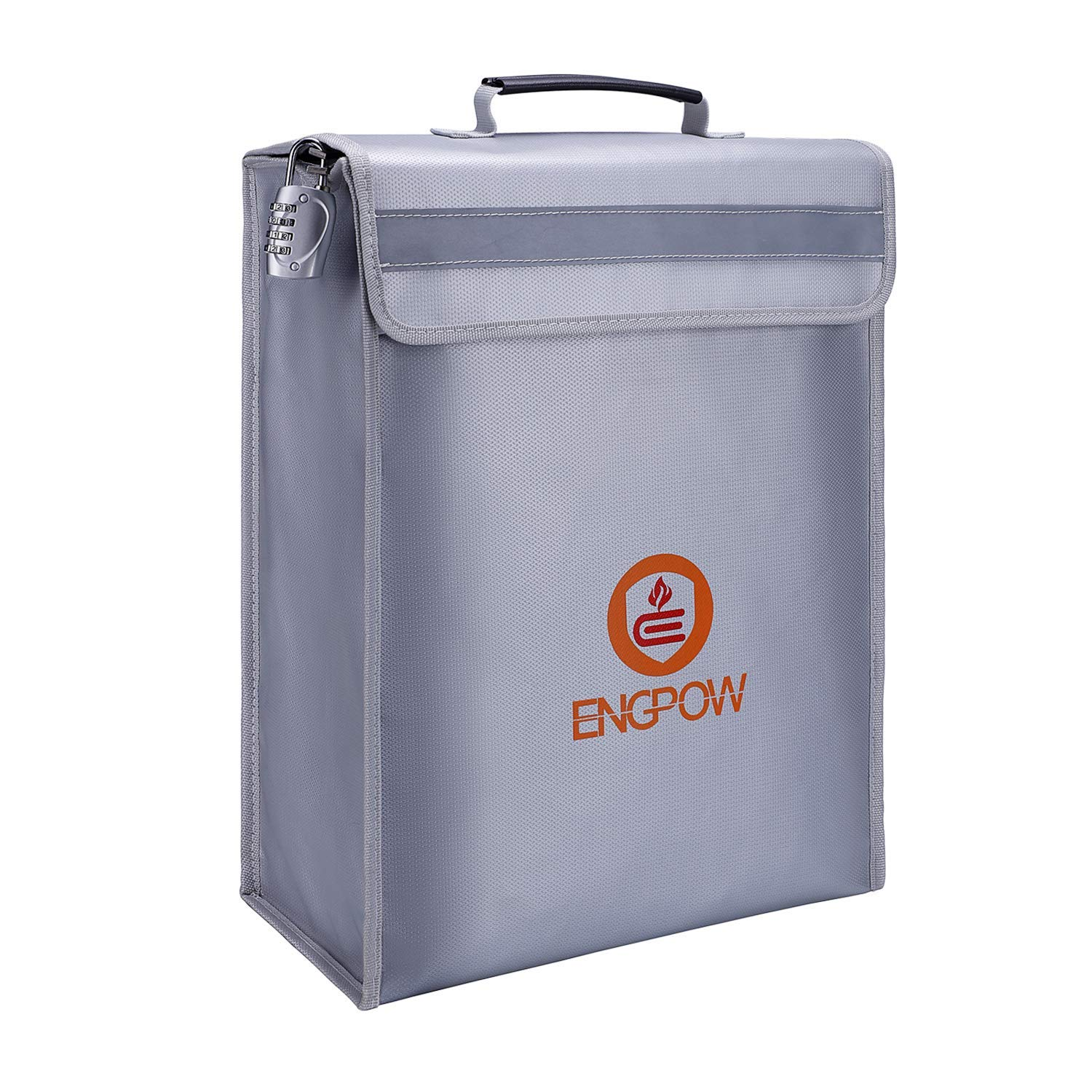 ENGPOW Large Fireproof Bag,Fireproof Lock Box Bag Document Bag Money Bag with Combination Lock Zipper Closure,Fireproof Safe and Water Resistant Storage for Documents,Money,Valuables (16''x12''x5'')