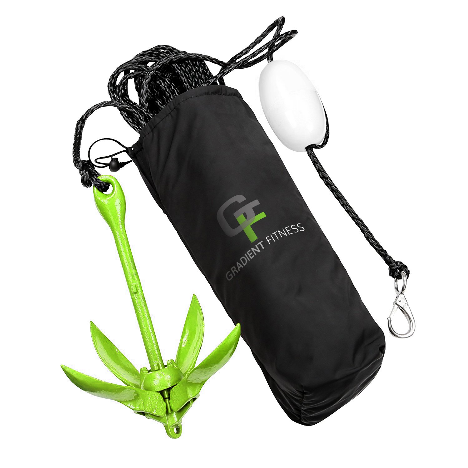 Gradient Fitness Marine Anchor, 3.5 lb Folding Anchor, Grapnel Anchor Kit for Kayaks, Canoes, Paddle Boards (SUP), (Green, 3.5 lbs) by Gradient Fitness