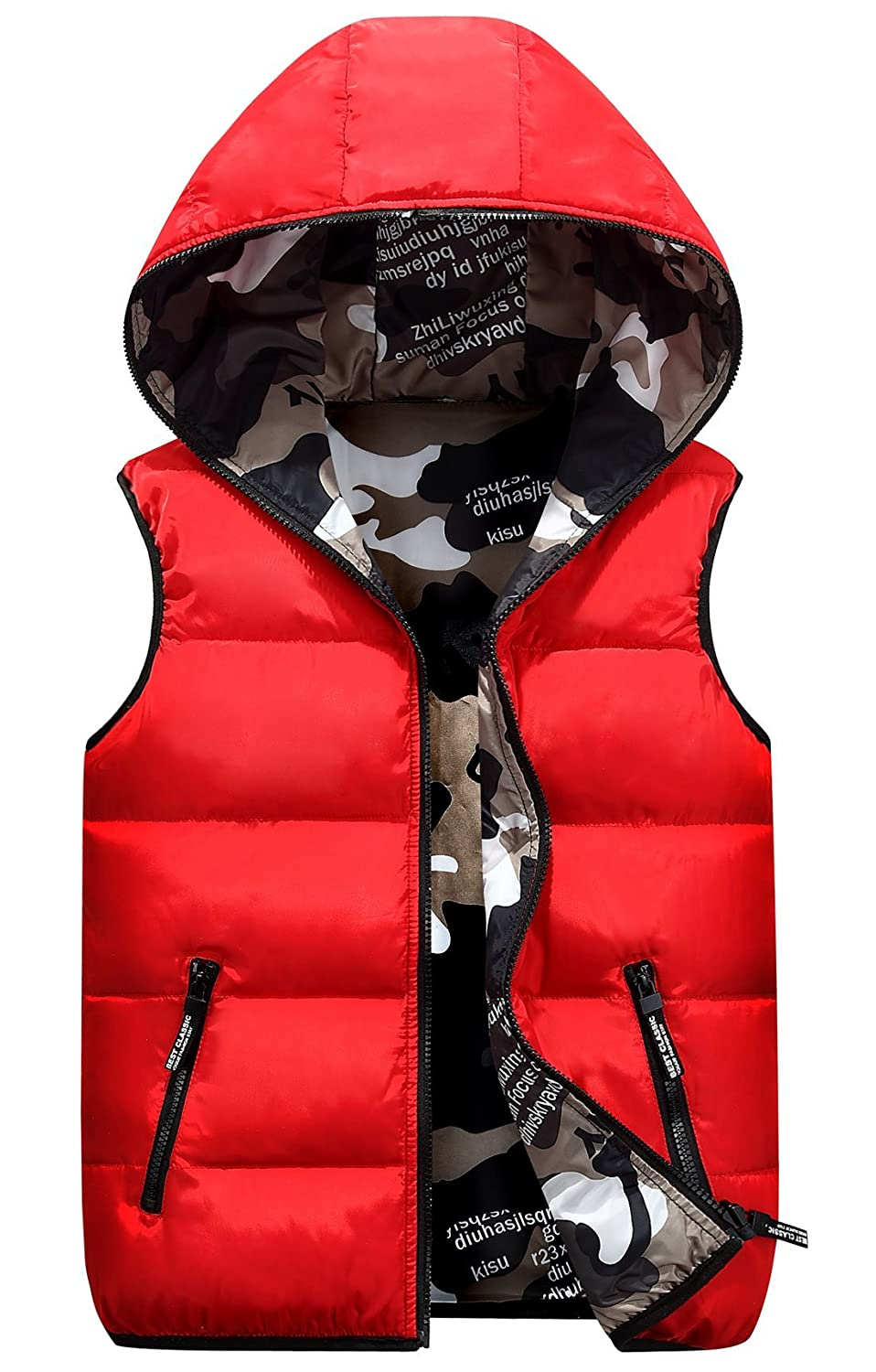 Winter Hooded Vest Padded Camouflage Reversible Sleevelss Jacket 3-9T Happy Cherry