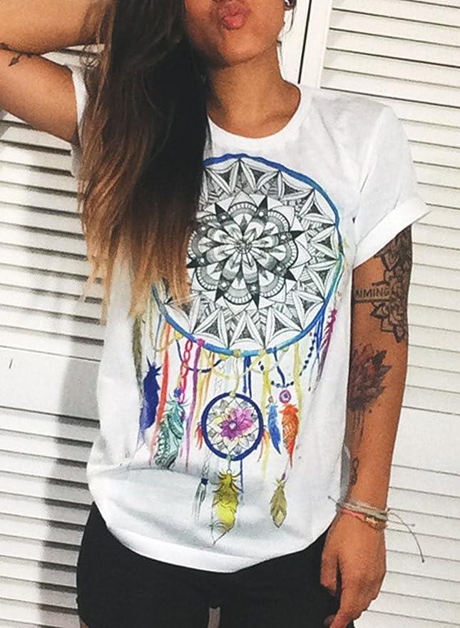 Azbro Mujer Moda Camiseta Mangas Cortas Estampado Atrapasueños de Estilo Suelto, Blanco XL: Amazon.es: Ropa y accesorios