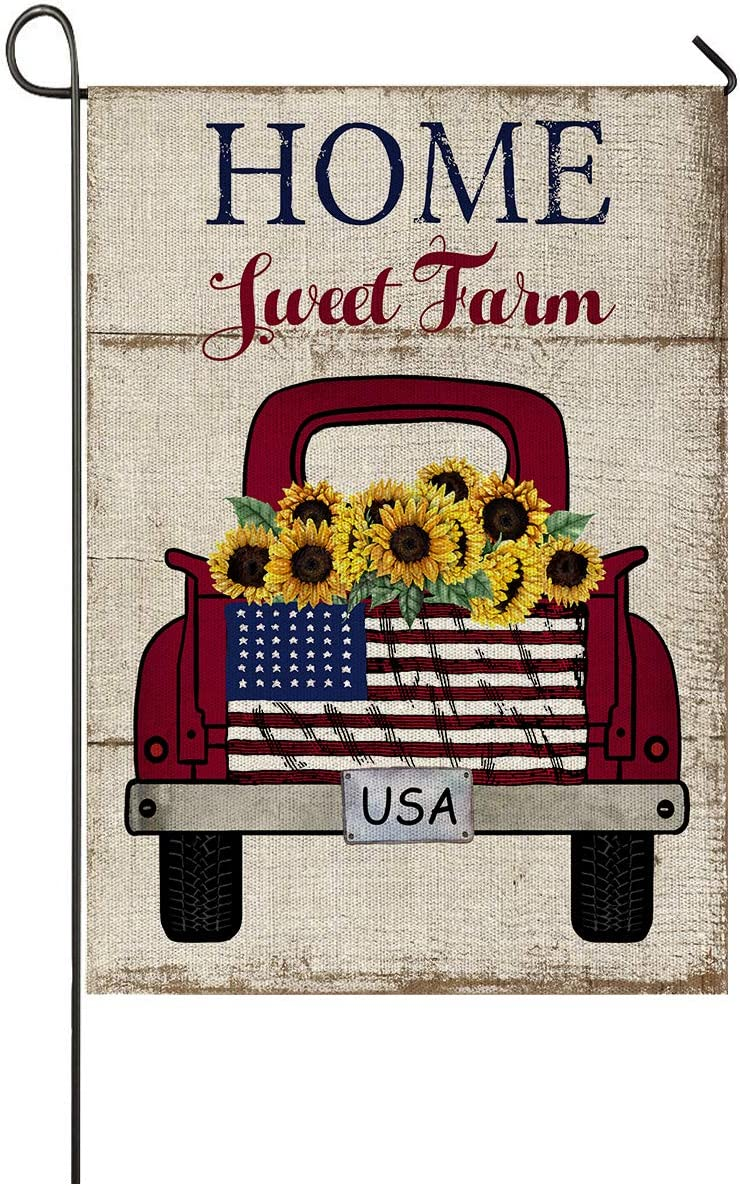 Faromily Vintage Truck with Sunflowers Garden Flag Vertical Double Sided Farm Fresh Loads of Sunshine Burlap Garden Yard Lawn Outdoor Decoration 12.5 x 18 Inch (Home Sweet Farm)