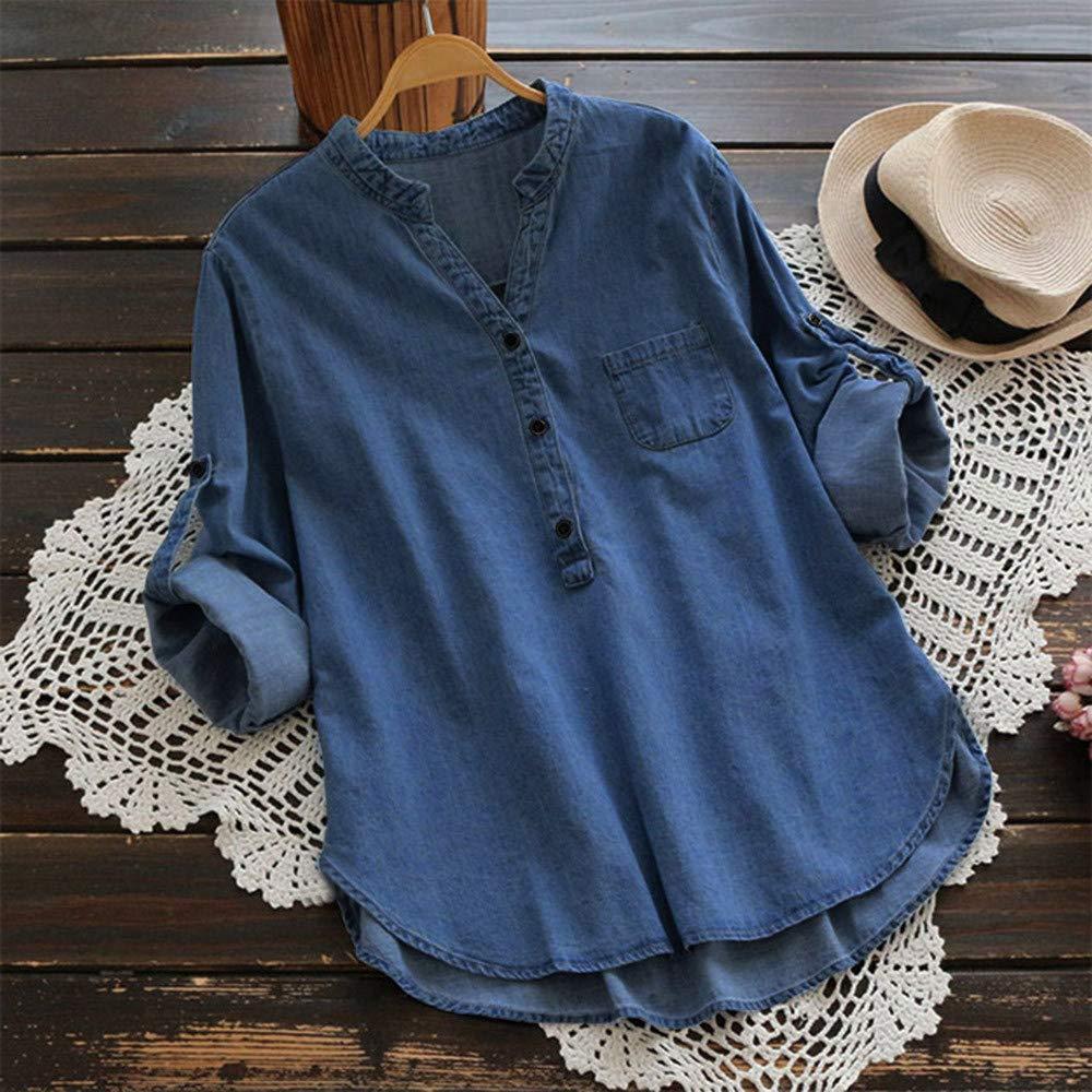 Women Henley V Neck Blouse Summer Denim Long Sleeve Shirts Loose V Neck T Shirts Button Tunics Tops with Pocket