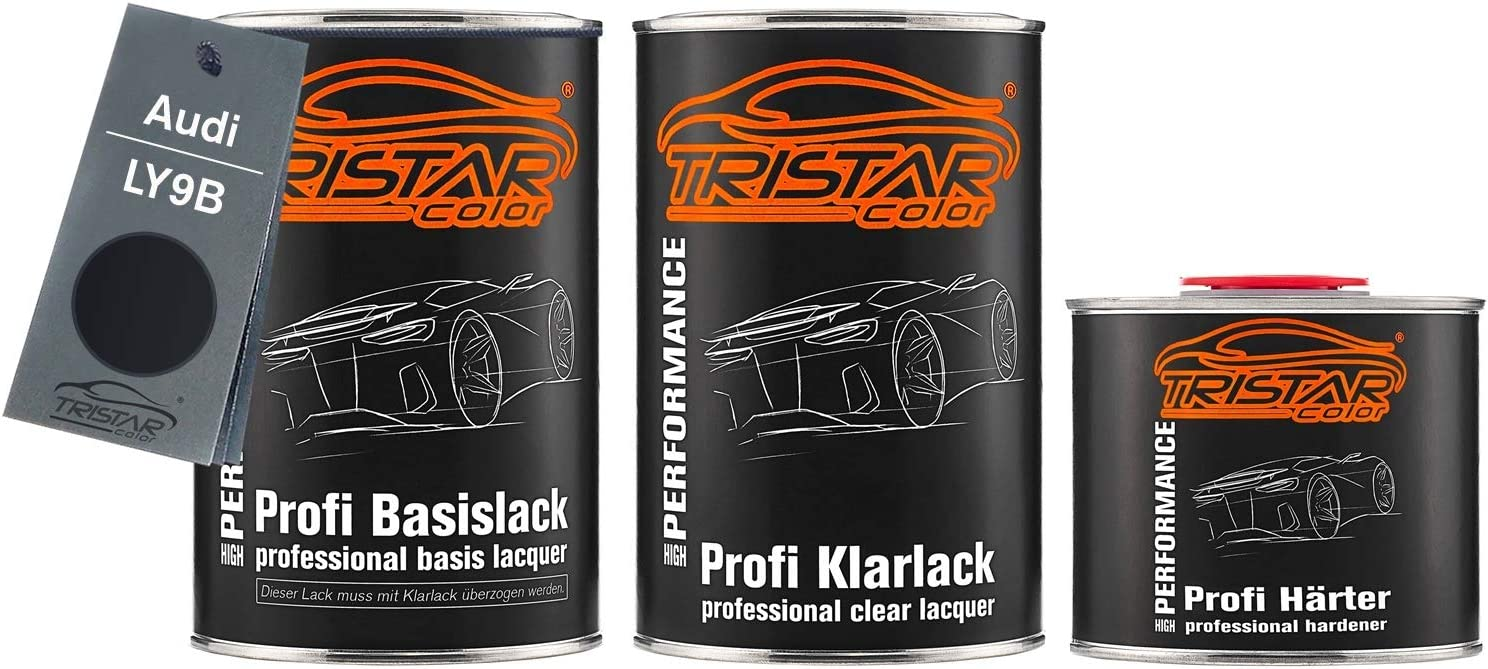 Tristarcolor Autolack Set Dose Spritzfertig Für Audi Ly9b Brillantschwarz Negro Brillante Basislack 2k Klarlack 2 5l Auto