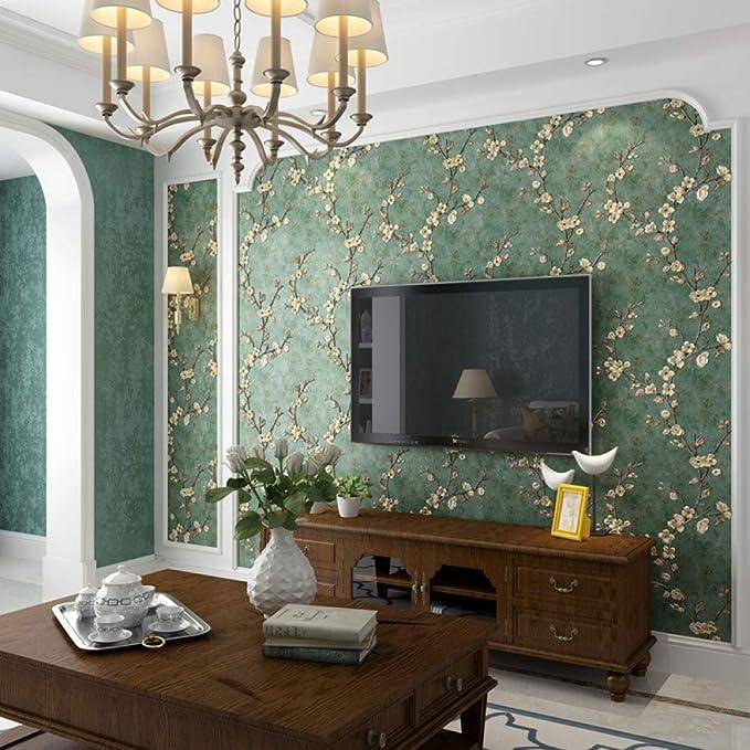 LZYMLG Papel pintado autoadhesivo no tejido retro n/órdico dormitorio sala de estar pared papel pintado decorativo DIY engrosamiento impermeable Amarillo claro