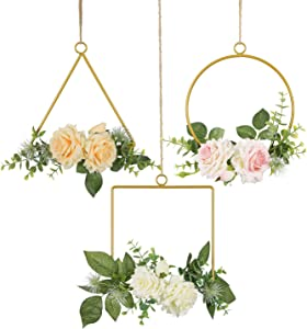 SHACOS Artificial Floral Hoop Wreath Set of 3 Metal Ring Rose Flowers Garland Green Eucalyptus Leaves Hanging Wedding Nursery Backdrop Wall Decor (Pink, White and Champagne Rose)