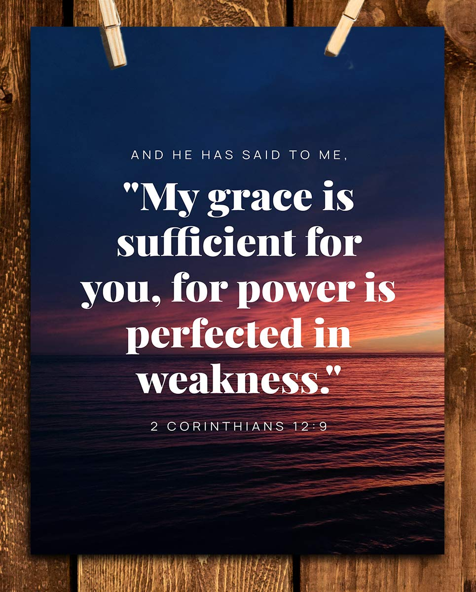 "2 Corinthians 12:9-""My Grace Is Sufficient-Power Is Perfected"" Bible Verse Wall Art- 8x10""-Scripture Wall Print-Ready to Frame. Home-Office-Church Décor. Great Christian Art Gift. Empowering Verse!"