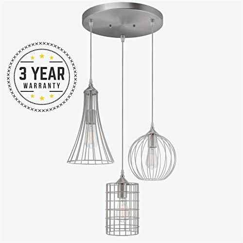 Kira Home Wyatt 11.5 Modern Industrial 3-Light Cluster Pendant Chandelier Wire Cage Metal Shades, Customizable Height, Brushed Nickel Finish