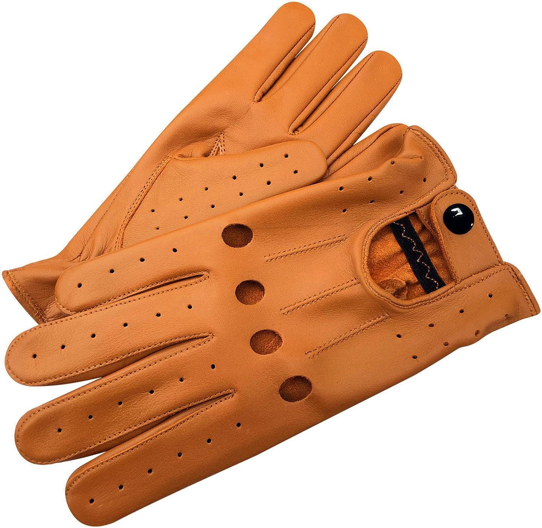 Men/'s Classic Driving Gloves Lamb Skin Leather Dress Glove TAN s M L XL
