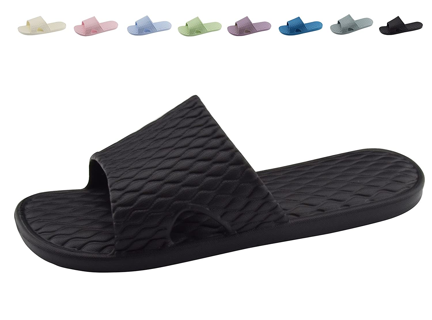 83e724b75 Amazon.com | Shower Bath Slippers Women and Men Non-Slip Home Bathroom  Sandals Indoor Outdoor Soft Shoes | Slippers