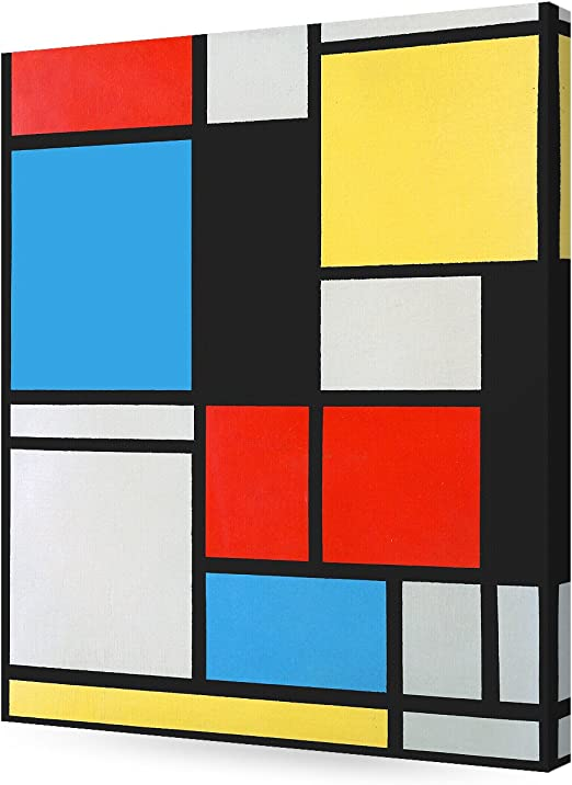 Piet Mondrian Composition with Red Blue and Yellow Giclee Canvas Print Painting